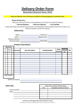 Sample Delivery Order Form