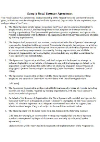 Sample Fiscal Sponsor Agreement