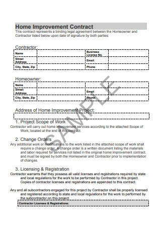 Sample Home Improvement Contract