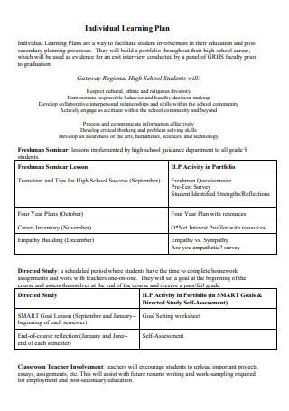 Sample Individual Learning Plan