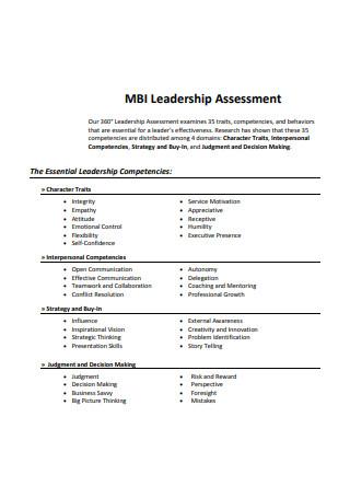 Sample Leadership Assessment