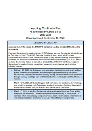 Sample Learning Continuity Plan
