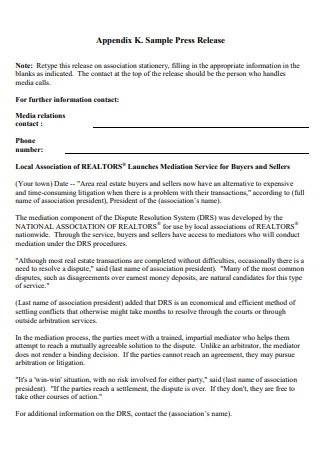 Sample Press Release Fact Sheet