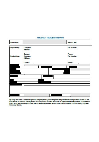 Sample Product Incident Report