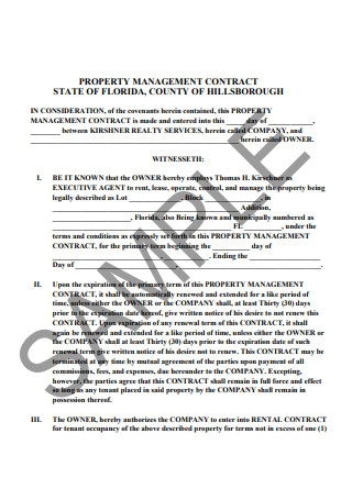 Sample Property Management Contract