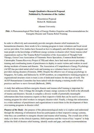 Sample Qualitative Research Proposal