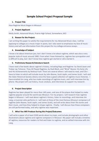 Sample School Project Proposal