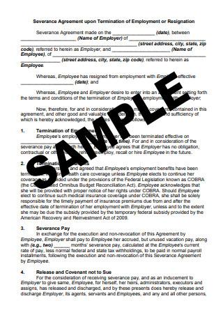 Sample Severance Agreement
