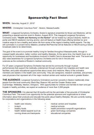 Sample Sponsorship Fact Sheet