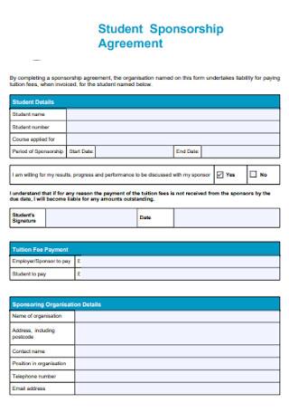 Sample Student Sponsorship Agreement