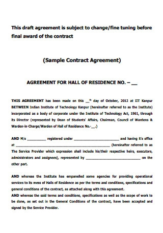 Sample Work Contract Agreement