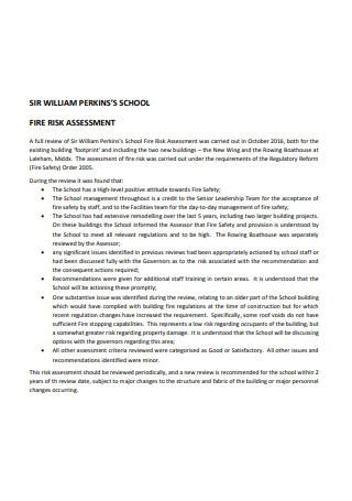 School Fire Risk Assessment
