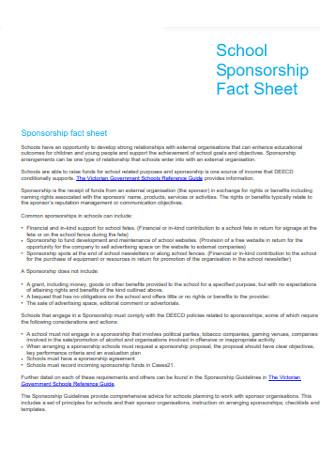 School Sponsorship Fact Sheet