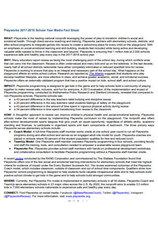 School Year Media Fact Sheet