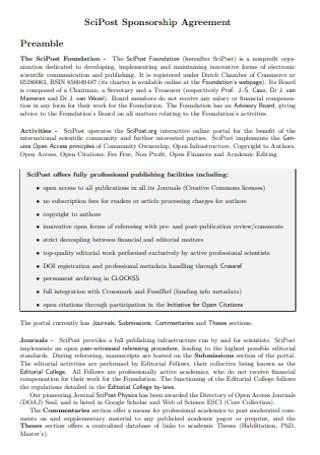 Scipost Sponsorship Agreement