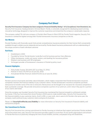 Security First Insurance Company Fact Sheet