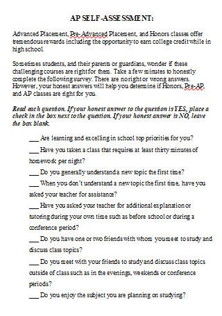 Self Assessment in DOC