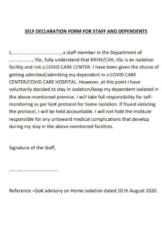 Self Declaration For for Staff