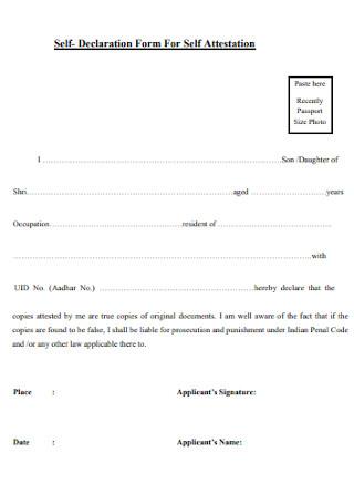 Self Declaration Form For Self Attestation