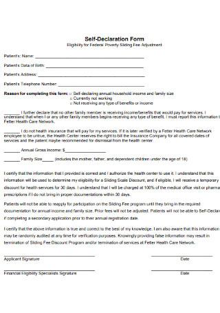 Self Declaration Form Format