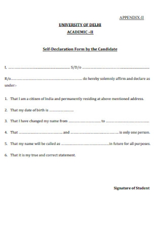 Self Declaration Form by the Candidate