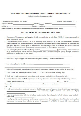 Self Declaration Form for Travel