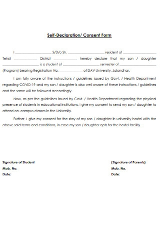 Self Declaration and Consent Form