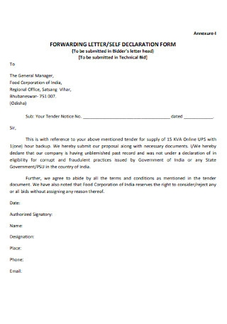 Self Seclaration Form and Letter
