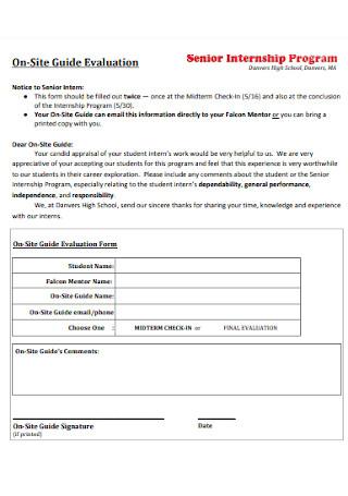 Senior Internship Program Evaluation