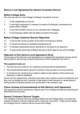 Service Level Agreement for Customer Service