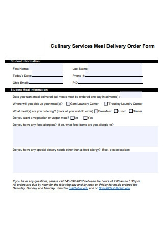 Services Meal Delivery Order Form