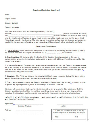 Session Musician Contract