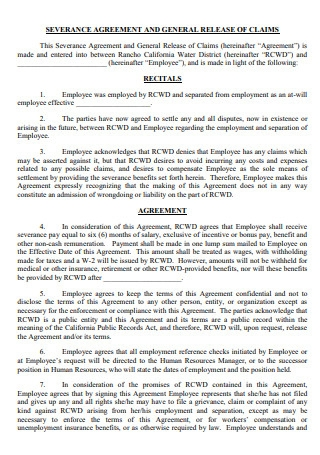 Severance Agreement and General Release of Claims