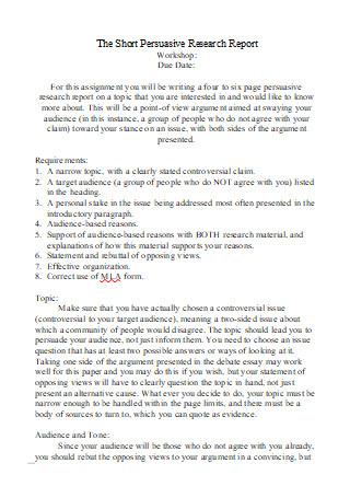 Short Persuasive Research Report