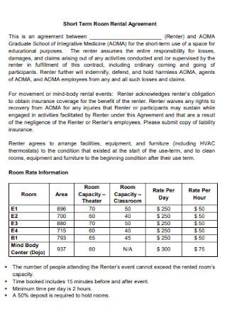 Short Term Room Rental Agreement