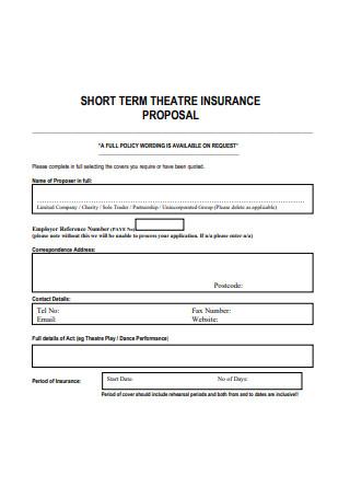 Short Term Theatre Insurance Proposal