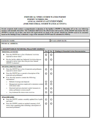 Simple Annual Evaluation Form