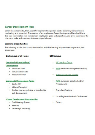 Simple Career Development Plan