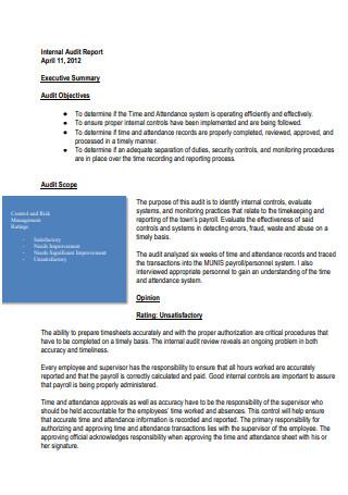 Simple Internal Audit Report
