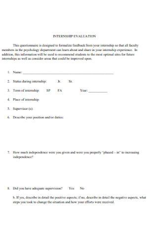 Simple Internship Evaluation