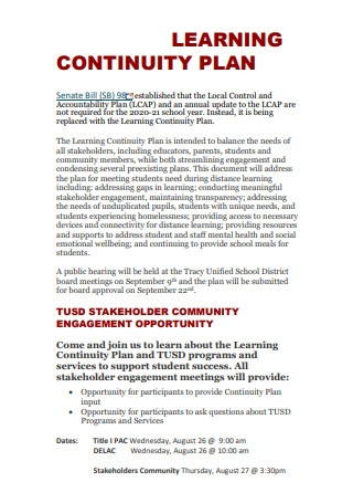 Simple Learning Continuity Plan