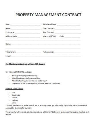 Simple Property Management Contract