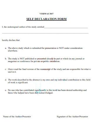 Simple Self Declaration Form