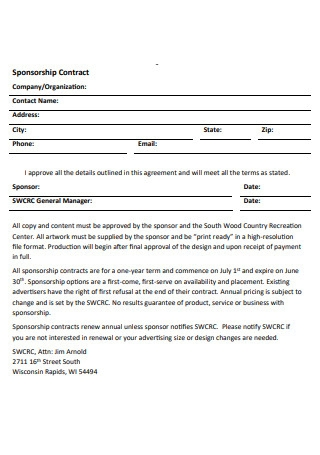 Simple Sponsorship Contract1