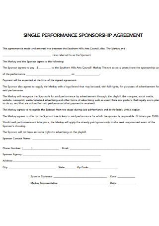 Single Performance Sponsorship Agreement