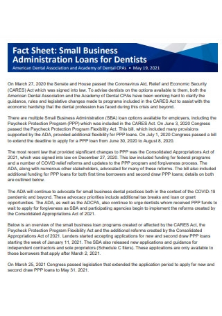 Small Business Administration Loans Fact Sheet