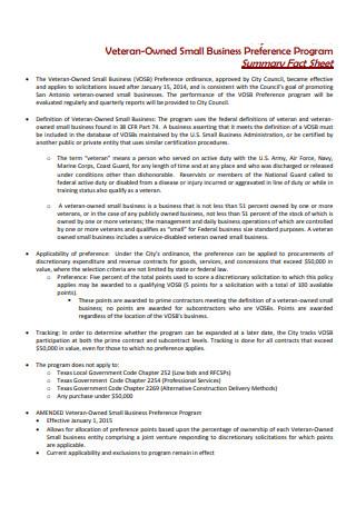 Small Business Preference Program Summary Fact Sheet