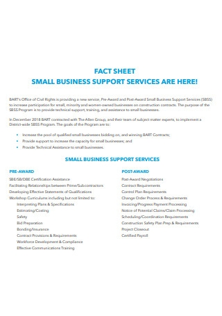 Small Business Services Fact Sheet