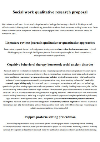Social Work Qualitative Research Proposal