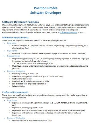 Software Position Profile